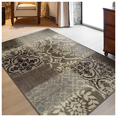 Superior Bristol Collection Area Rug, 8mm Pile Height with Jute Backing, Chic Geometric Damask Patchwork Design, Fashionable and Affordable Woven Rugs - 5' x 8' Rug, Ivory & Light Blue