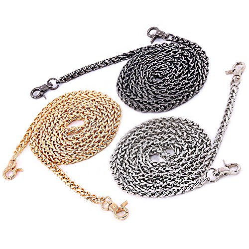 Swpeet 3Pcs Luxury Fashion 47 Inch Replacement Torsional Chain Strap with Buckles Set, Perfect for DIY Metal Shoulder Cross Body Bag Hand Bag Purse Replacement ( Gold + Silver+ Gun-Black))