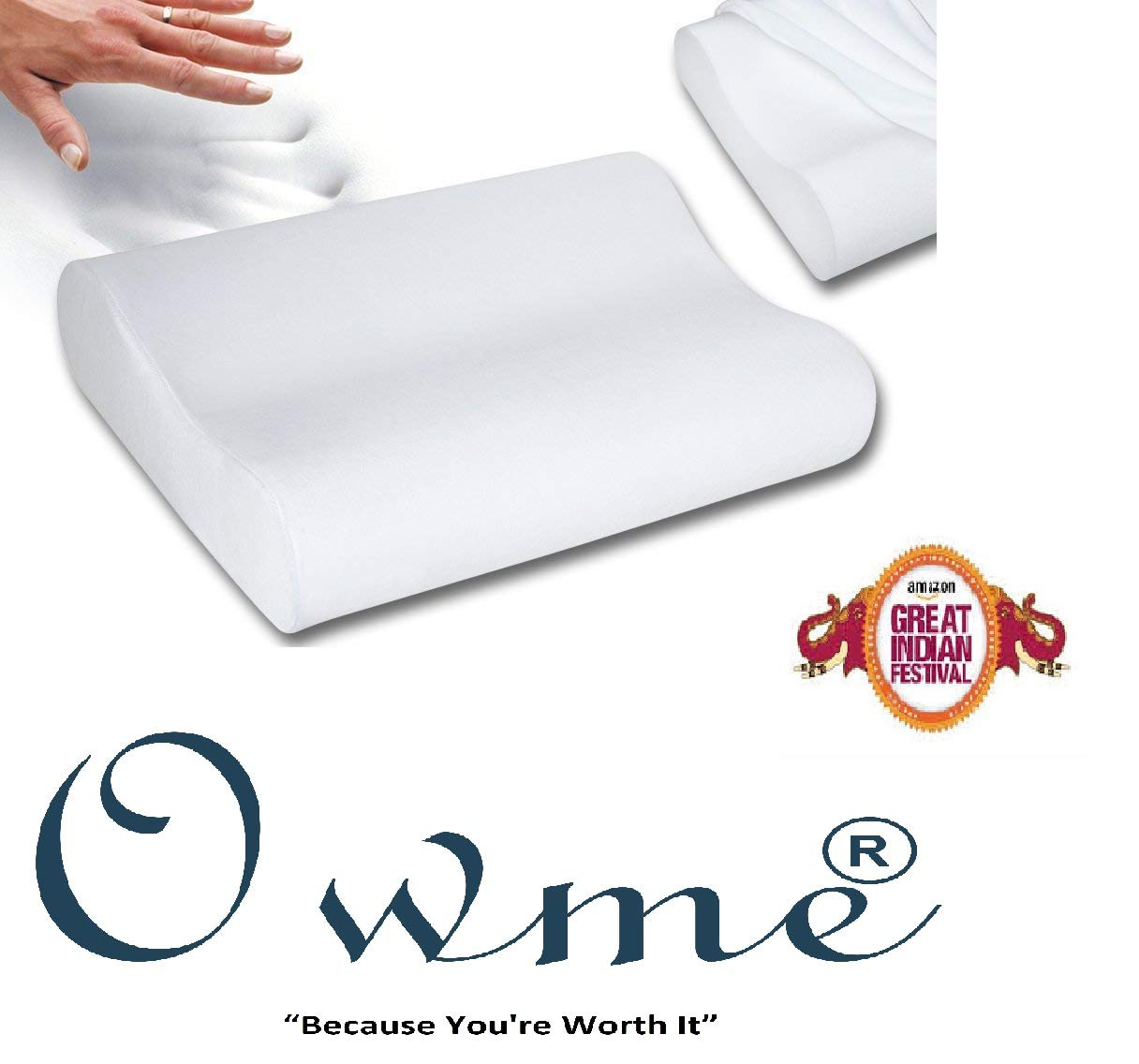 Owme Orthopedic Memory Foam Pillow Standard Size Specialty Medical Neck & Back Support Sleeping Bed Pillow product image