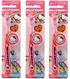 Hello Kitty Children's Tooth Brush (Pack of 3) With Cap and Suction - Toothbrush Designs Vary - Premium Quality