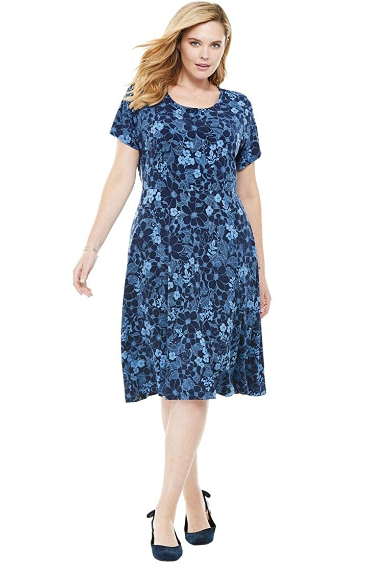 7d495f81205 Woman Within Women s Plus Size Short Sleeve Knit Fit-and-Flare Dress at  Amazon Women s Clothing store