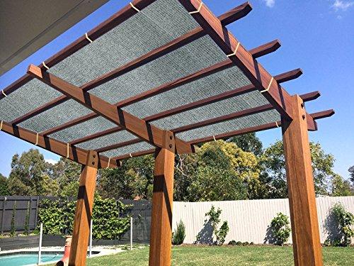 Ecover 90% Shade Cloth Grey Sunblock Fabric Rope UV Resistant Patio/Pergola/Canopy,12x12ft