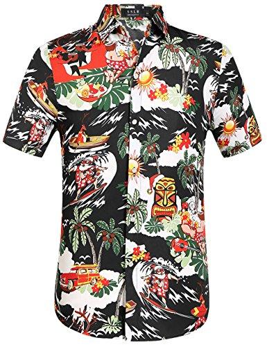 Christmas Hawaiian Shirts.Sslr Men S Santa Claus Party Tropical Ugly Hawaiian Christmas Shirts Small Black