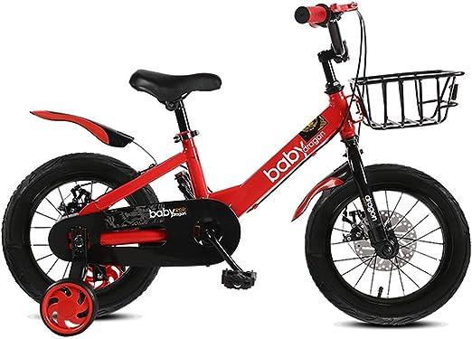 GAIQIN Durable Bicicleta para niños Adecuada para niños y niñas de 4 a 10 años, Freno a Dos Manos, Seguro de operar (con Canasta) (Color : Rojo, Tamaño : 18inch): Amazon.es: Hogar