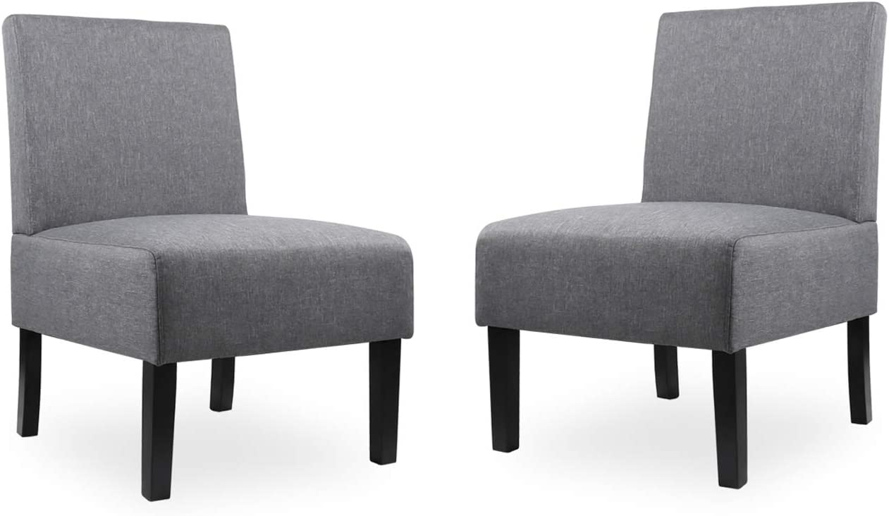 Modern Fabric Armless Accent Chair Set of 2 Decorative Slipper Chair Vanity Chair for Bedroom Desk, Corner Side Chair Living Room Furniture Grey (2, Grey)