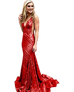 9660c354ab48 DYS Women's Halter Mermaid Prom Dress V Neck Black Evening Gowns Backless