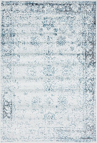 - Unique Loom 3134064 Sofia Collection Traditional Vintage Beige Area Rug, 4' x 6' Rectangle, Light Blue