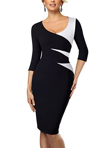 MABELER Women's Wear to Work Chic Formal Sheath Business Pencil Dress