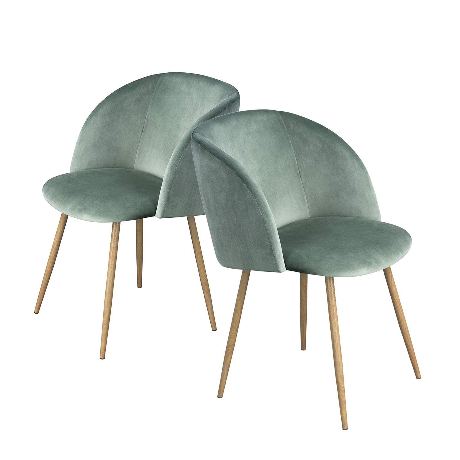 HomyCasa Dining Chair Accent Chair Set of 2 for Living Room, Side Chair Guest Chair Velvet Fabric Ergonomic Padded Seat Armrest with Metal Legs Scandinavian Style Indoor Coffee Shop (Green)