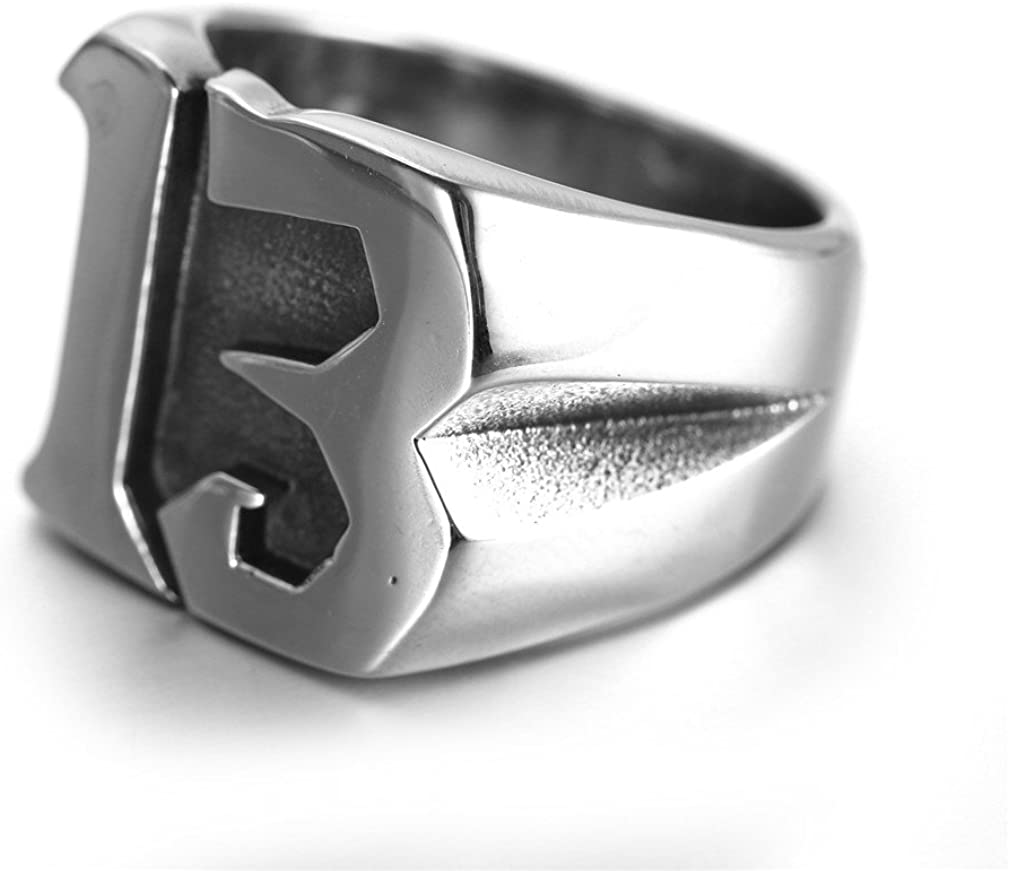 INRENG Mens Stainless Steel Lucky Number 13 Biker Ring High Polished Silver Band