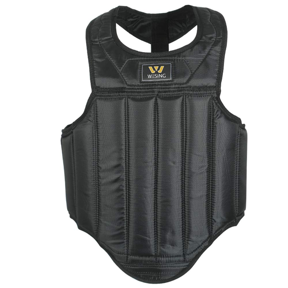 Martial Arts Muay Thai Boxing Chest Protector By Wesing (Black, Large(67in~69in,143lb~154lb)) by W WESING
