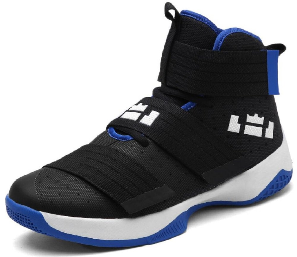 JiYe Men's Basketball Shoes for Women's Performance Sports Velcro Sneakers by B073Y5S59M 11.5 US-Women/10 US-Men/Foot Length 27CM|Black Blue