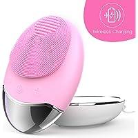 Gesichtsreinigungsbürste Silikon 3-IN-1 Elektrische Gesichtsbürste Silikon Gesichtsmassagegerät Sonic Tiefenreinigung Hautpflege Gerät IPX7 Waterproof, Wireless Charging, für Alle Hauttype