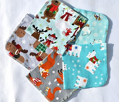 1 Ply Happy Winter Animals, Set Napkins 12x12 inches 5 Pack - Little Wipes (R) Flannel