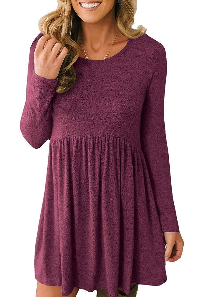 Maroon Intimate Boutique Women's Long Sleeve Flowy Peplum Tunic Dress