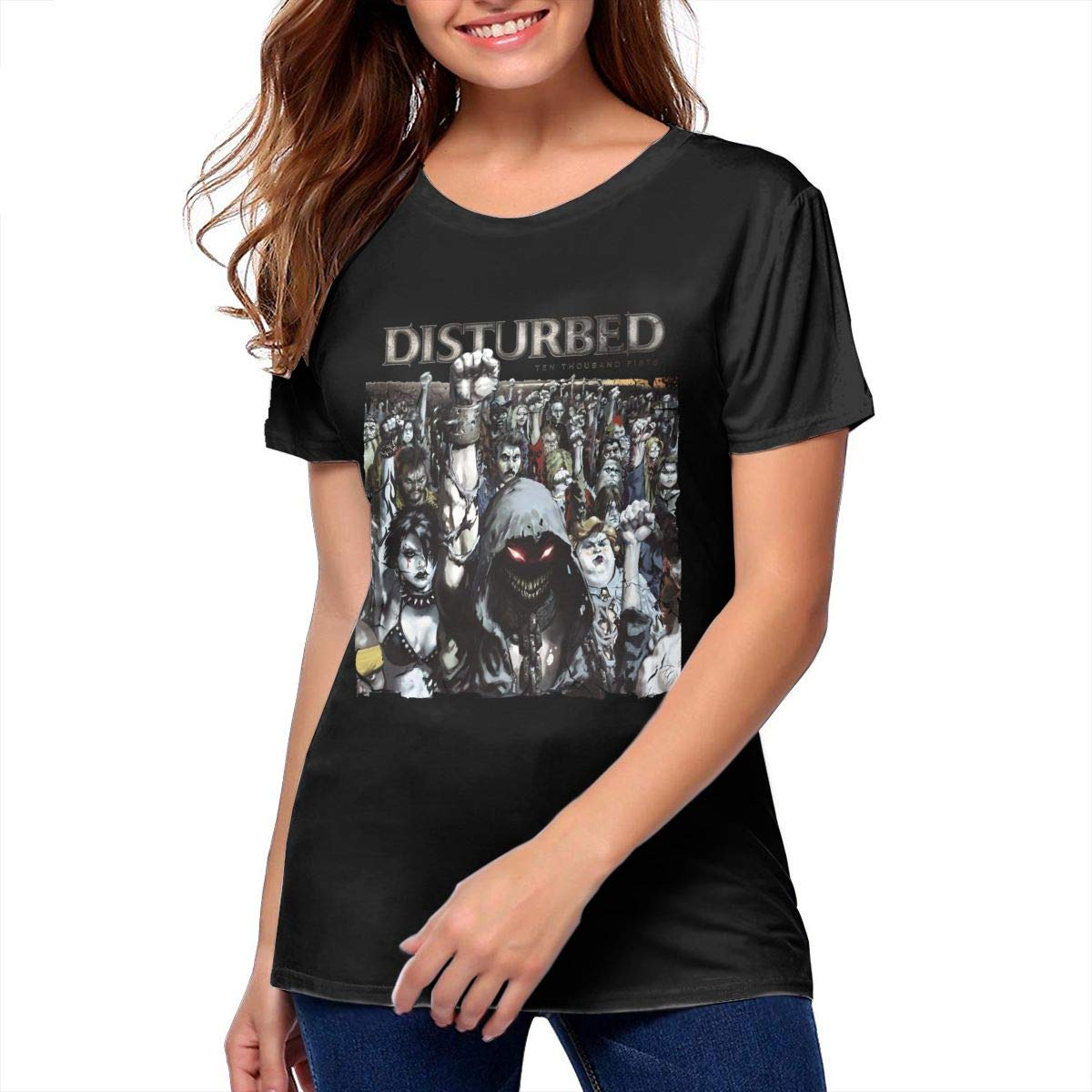 Amazon.com: Womans Disturbed Ten Thousand Fists Stylish Music Band Short  Sleeves T Shirts: Clothing