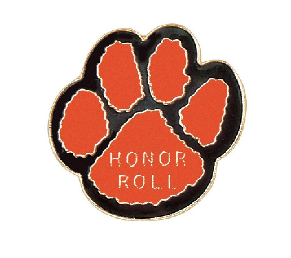 Pack of 250 Paw Print - Honor Roll Lapel Pins (Orange/Black)