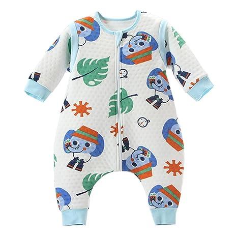 Bebé Saco de dormir Con Cremallera Piernas Separadas Mangas extraíbles,Elefantes M