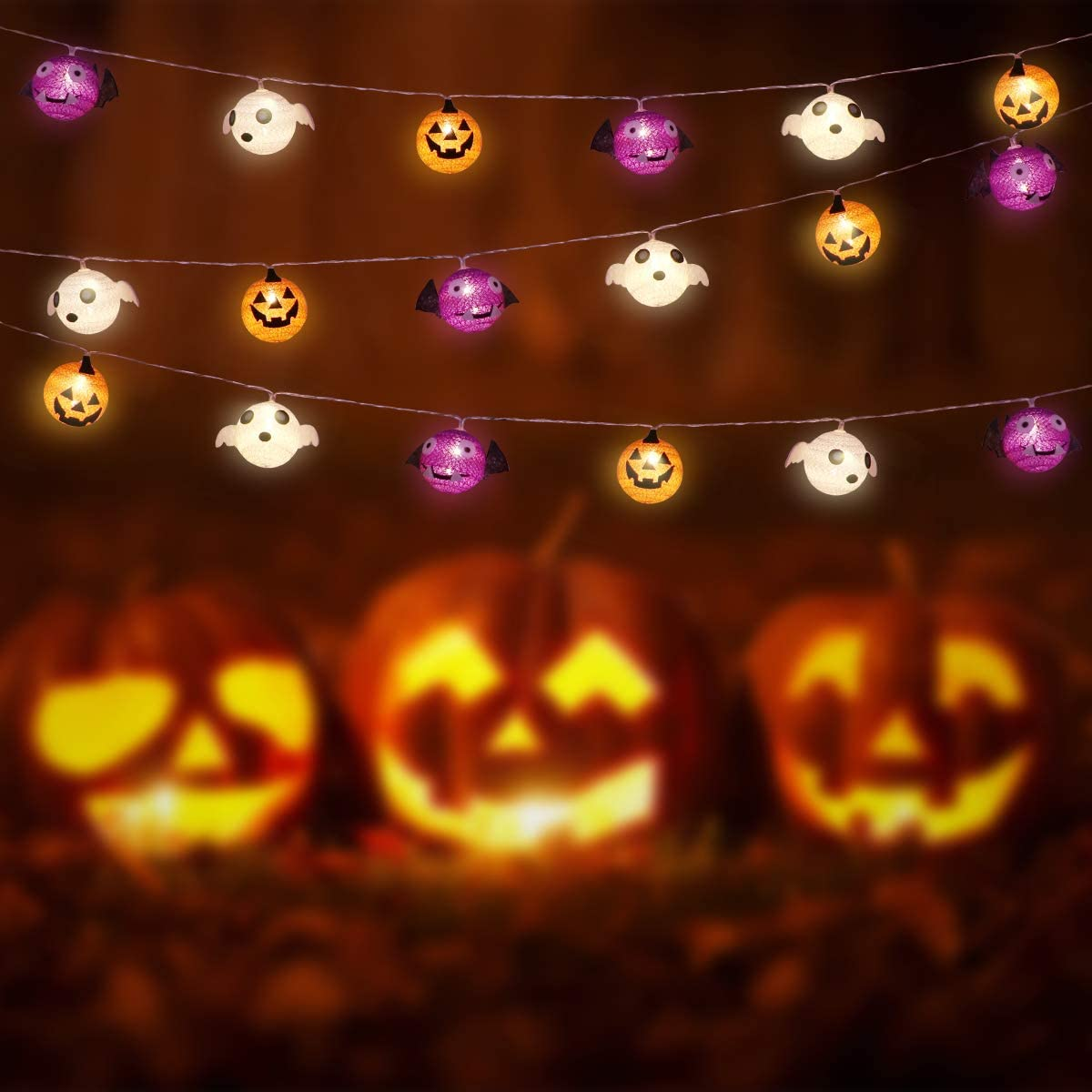 Halloween String Lights, LED Halloween Decoration Lights, Hanging Lights Battery Operated Halloween Night Light, Pumpkin String Light