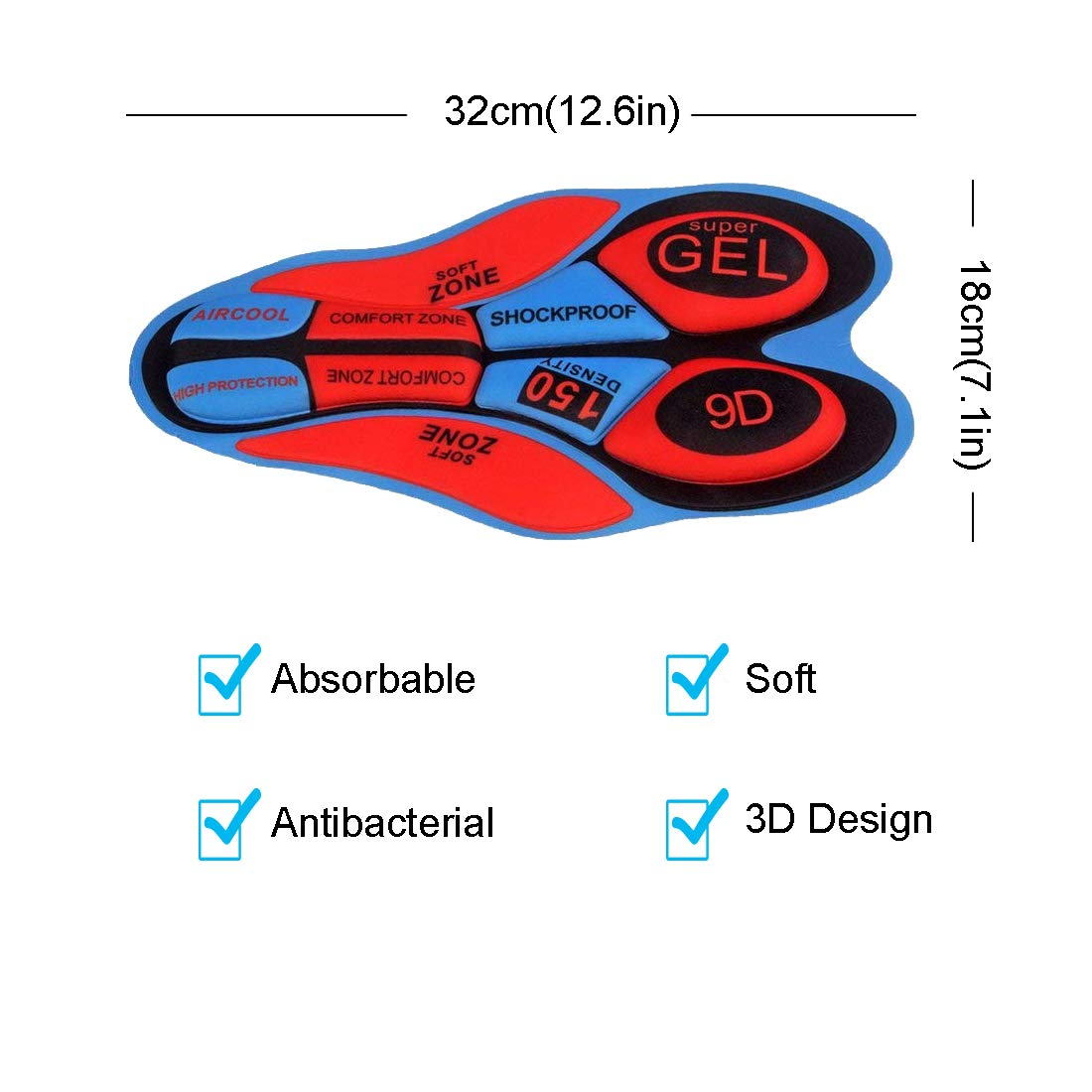 OUTHIKER Calzoncillos de Ciclismo para Hombres Ropa Interior de Bicicleta Hombres Pantalones de Ciclismo Acolchados con Esponja Transpirables 3D