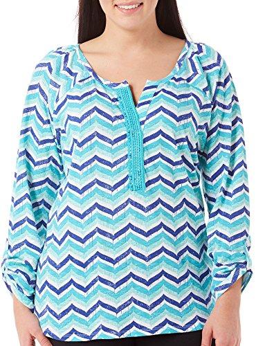 caribbean-joe-womens-plus-size-printed-zigzag-top-drift-turquoise-3x