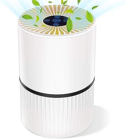 Purificador de Aire para Hogar Oficina 4 en 1 Filtro HEPA Carbón Activado,con Purificación de Iones Negativos, Aromaterapia, Luz Nocturna y Temporización para Mascotas/Humo/Gérmenes/Polvo (Blanco): Amazon.es: Hogar