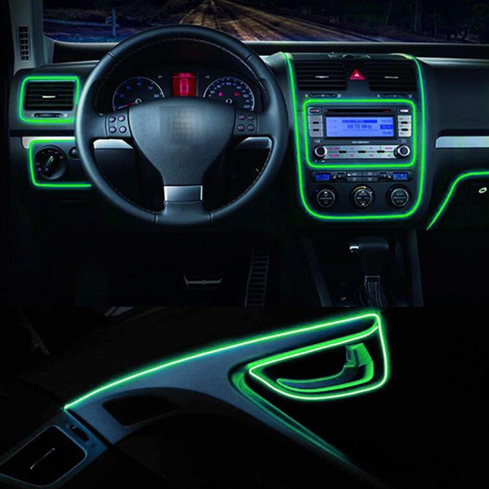 EL Wire Neon Beleuchtung Innenbeleuchtung 3M Mit 12V Inventer fuer Autotü r / Konsole / Seat / Dash Board Dekoration Blau MRCARTOOL