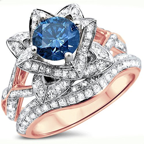 Smjewels 2.05 Ct Blue Round Sim.Diamond Lotus Flower Engagement Ring Set 14K Rose Gold Plated by Smjewels