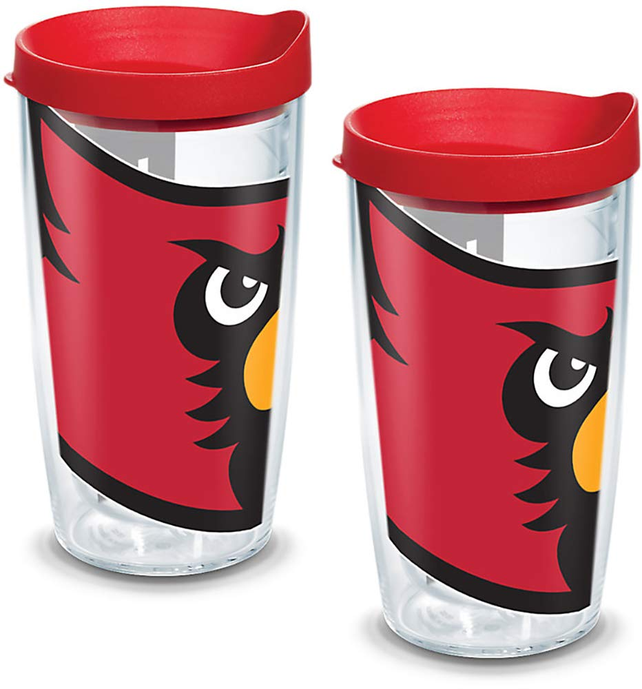 Tervis 1144359 Louisville Cardinals Mascot Colossal Tumbler with Wrap and Red Lid 2 Pack 16oz Clear