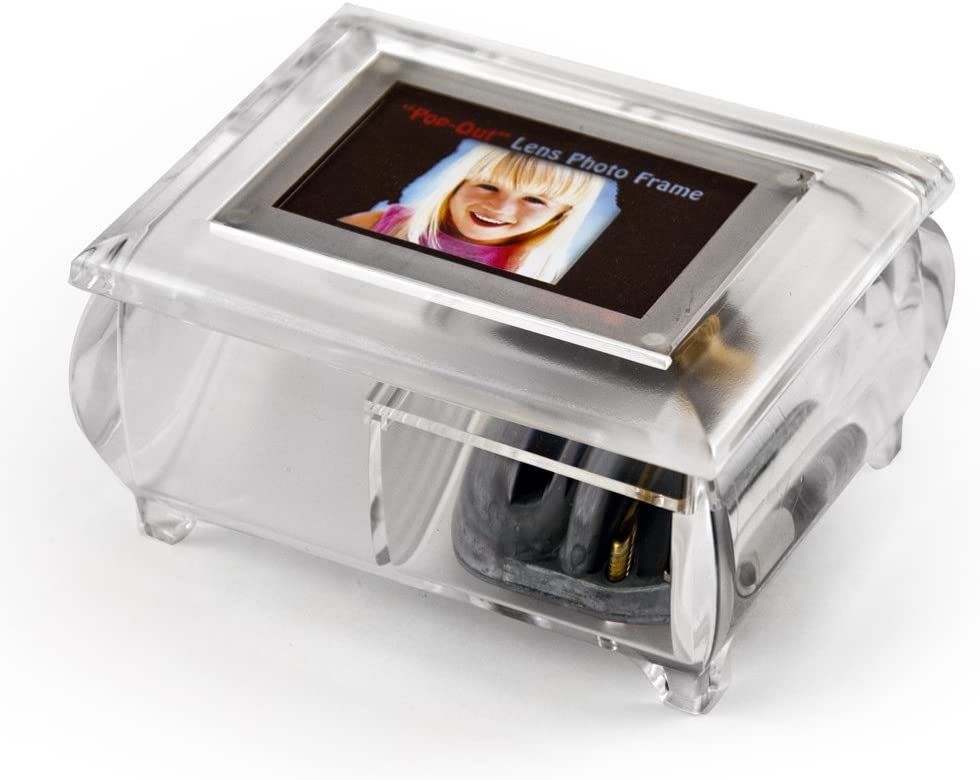 3X2 Wallet Size Clear Photo Frame Music Box with New Pop-Out Lens System - Fontana Di Trevi - Swiss
