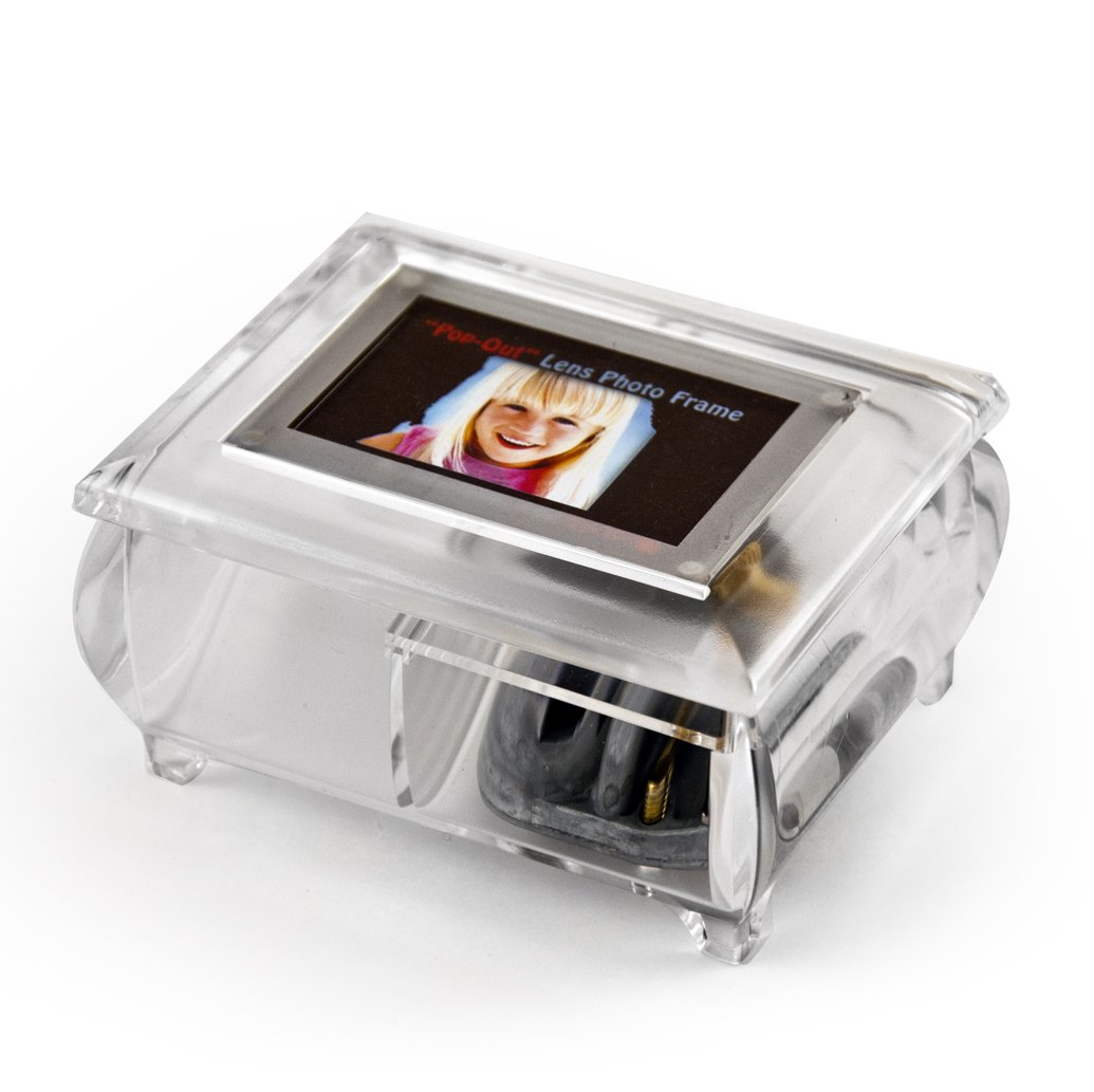 Music Box with Photo Frame, Clear Musical Jewelry Box for Earrings and Ring - Jewelry Organizer Case with Pop-Out Lens, Removable Lid, Great Grandma Music Box with Compartment