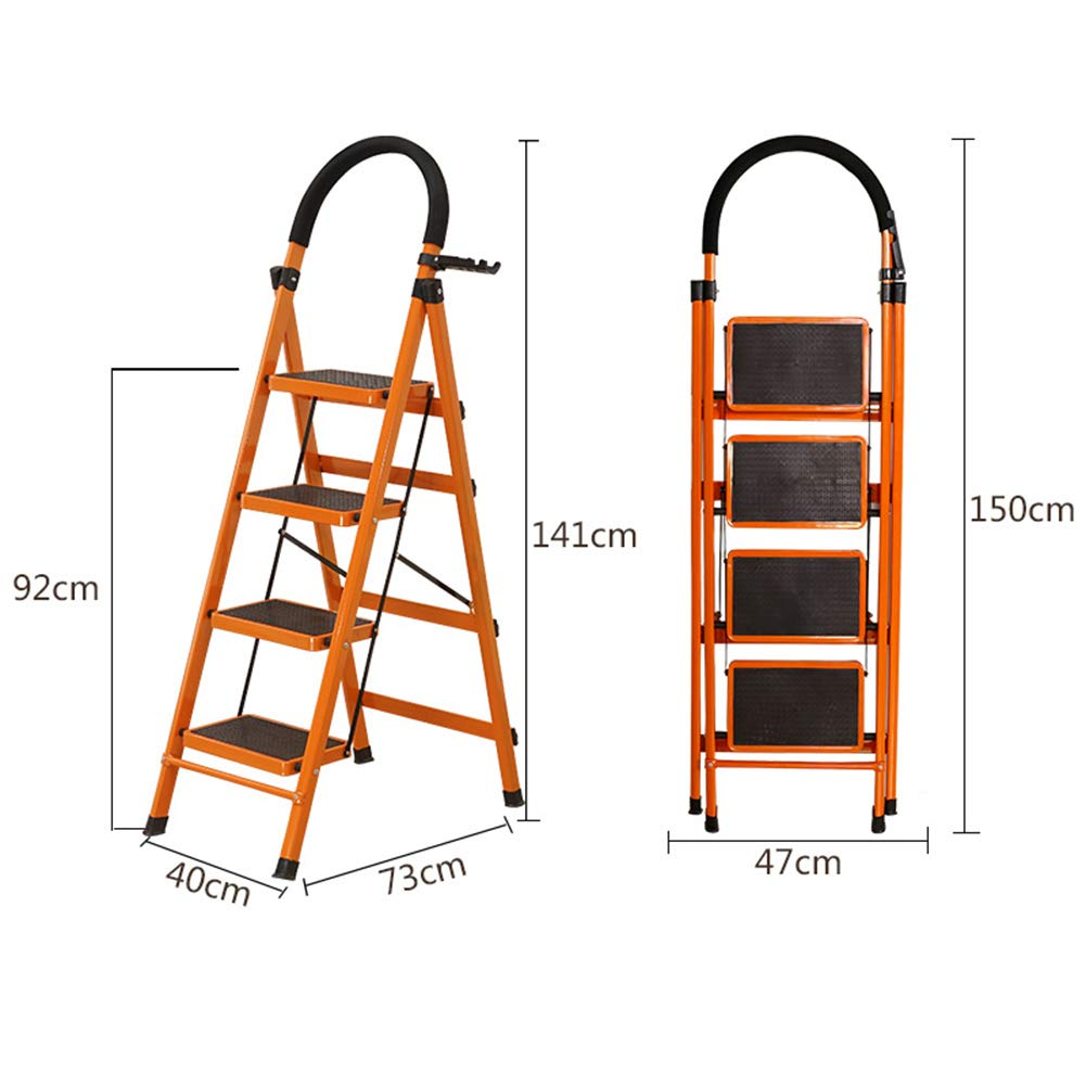 orange-black Five steps Ladder  Stool Step  Stool  Ladder Folding  Chair Step  Ladder Safety  Step  Stool Step  Stool Household Folding Thickening Herringbone Indoor Steel Pipe with Handrails ZHANGQIANG