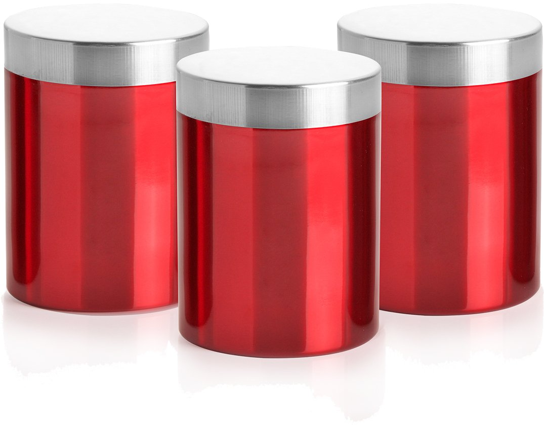Generic DIS-111-07 3 Piece Stainless Steel Canisters - Red