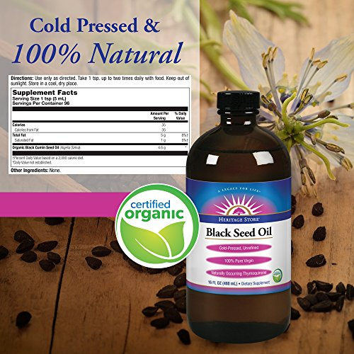 Heritage Store Black Seed Oil, Organic Natural, 16 oz by Heritage Store (Image #1)
