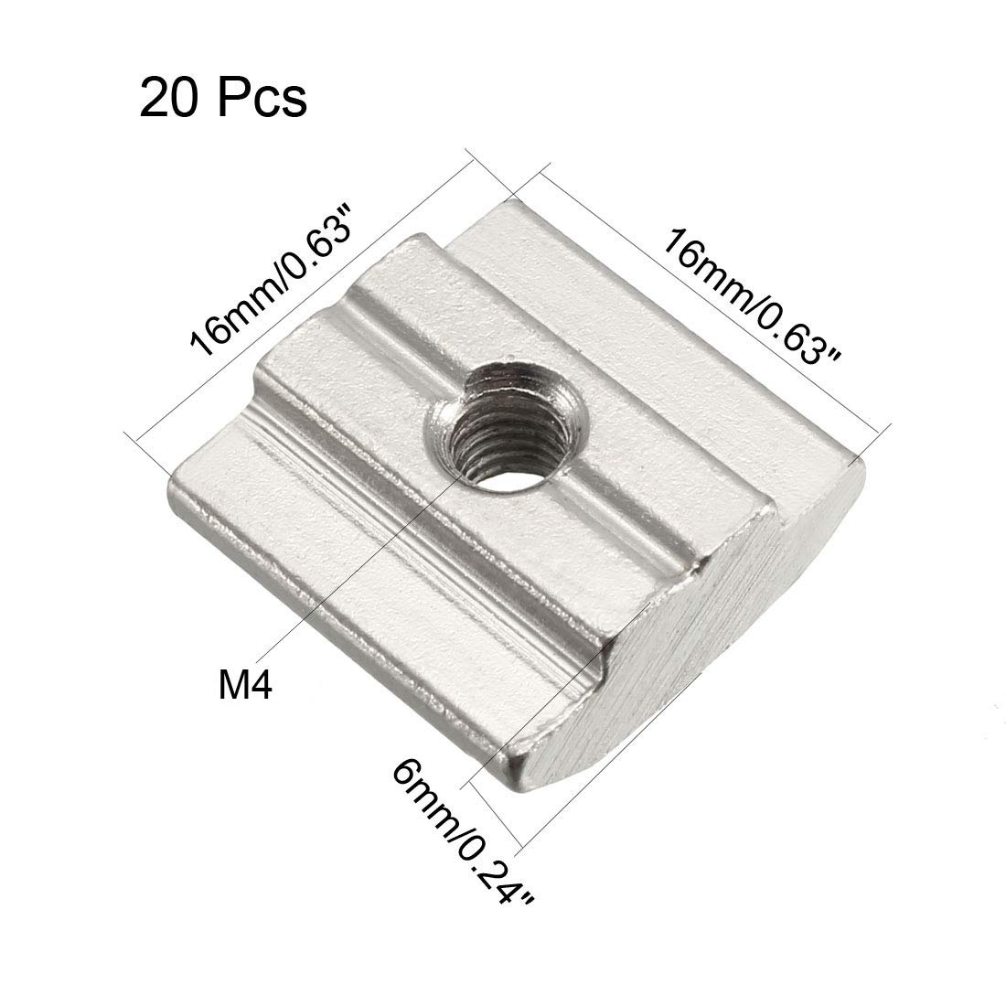 Pack of 20 sourcing map Slide in T-Nut M5 Threaded for 3030 Series Aluminum Extrusions Profile