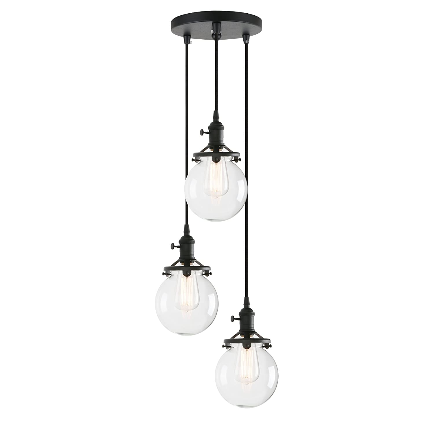 Pathson island chandelier pendant lighting fixtures 3 lights vintage style globe clear glass shade indoor hanging lights black amazon com