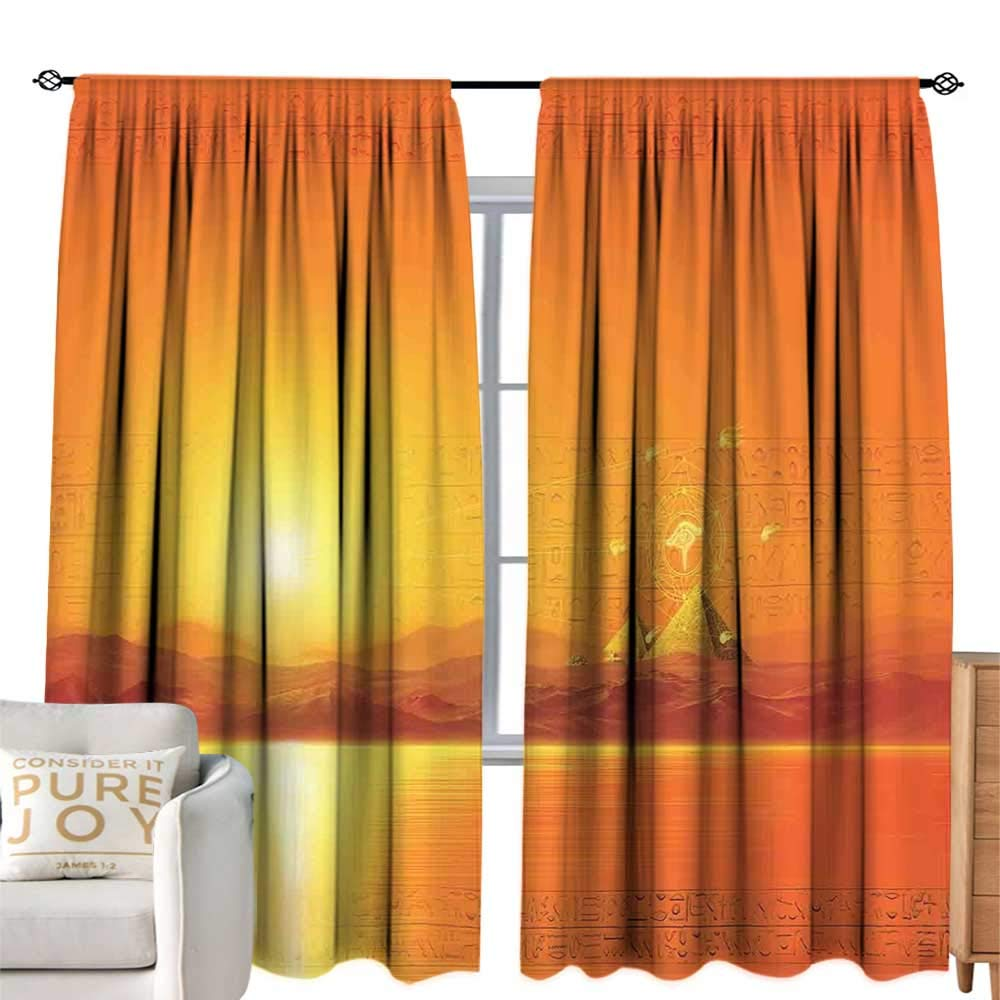 cobeDecor Kids Room Curtains Egypt Sacred Geometry Symbol Hanging in The Air Sun Ancient Scenery Reflection Print Yellow Orange Simple Style W84 xL84