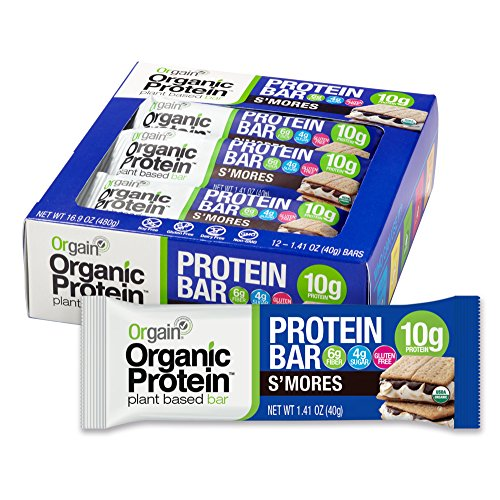 Protein Bars Without Soy - Orgain Organic Protein Bar, S'Mores, Vegan, Gluten Free, Non-GMO, USDA Organic, 1.41 Ounce, 12 Count