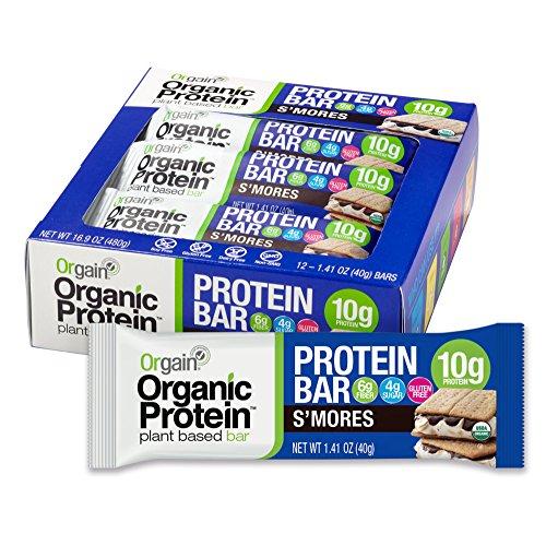 Orgain Organic Protein Bar, SMores, Vegan, Gluten Free, Non-GMO, USDA Organic, 1.41 Ounce, 12 Count