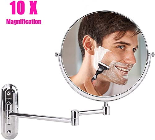 LUVODI Wall Mount Makeup Mirror with 10X Magnification, 8 Inch Two-Sided Swivel Vanity Mirror Extension for Bathroom, Chrome Finish