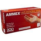 AMMEX - AAMV44100-BX - Vinyl Gloves - Anti-Microbial,Powder Free,Food Safe, Industrial, 4 Mil, Medium, Clear (Box of 200)