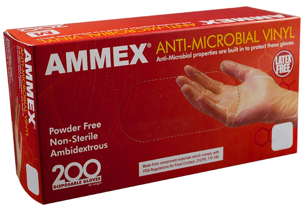 AMMEX - AAMV44100 - Vinyl Gloves - Anti-Microbial, Powder Free, Food Safe, Industrial, 3mil, Medium, Clear(Case of 2000)