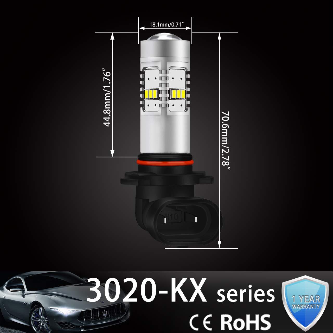NGCAT 1800 Lumens 14 SMD 3020 CREE 9005 HB3 LED Bulbs for Fog Lights DRL Turn Signals Light Bulbs Back Up Reverse Lights,DC 10-16V Xenon White 2-Pack