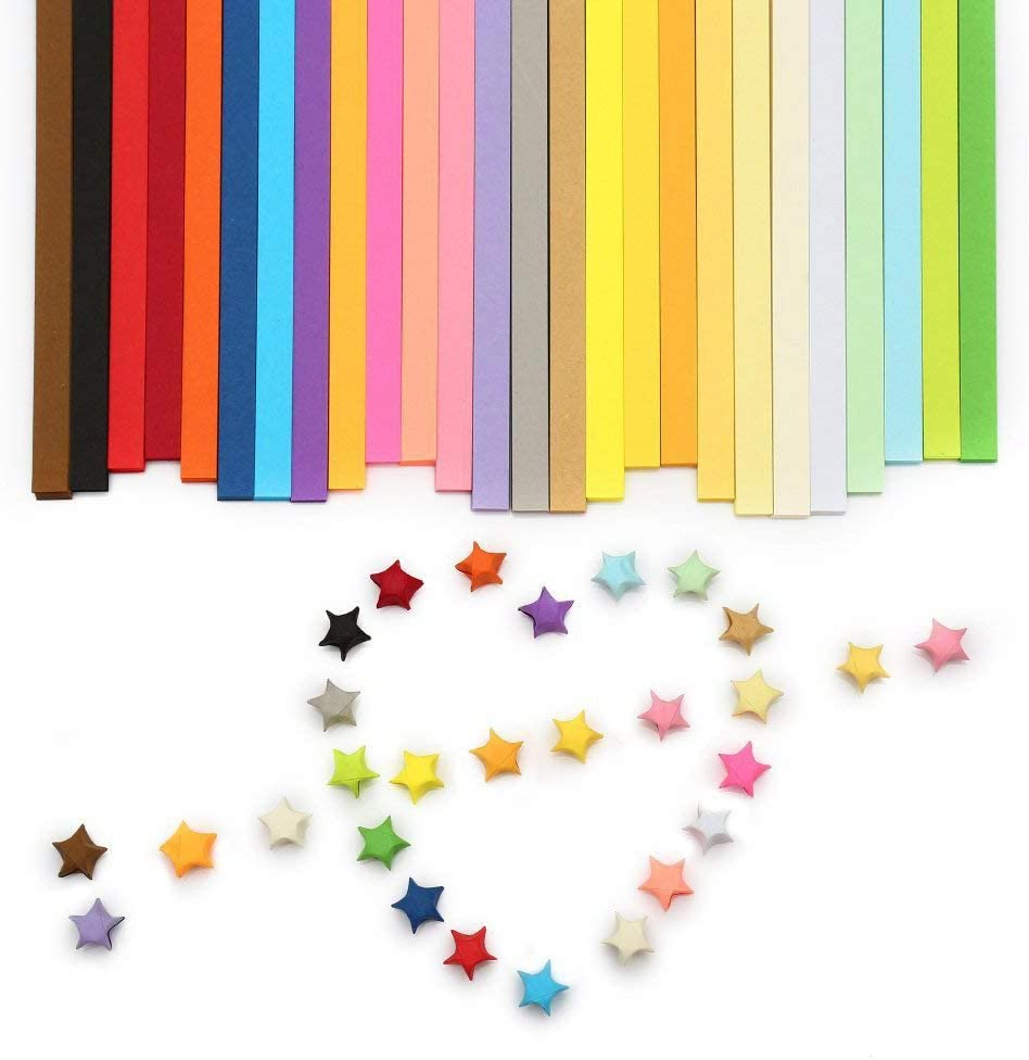 Multicolor Origami 1350 Sheets Origami Stars Paper Double Sided 27 Colors Decoration Paper Strips