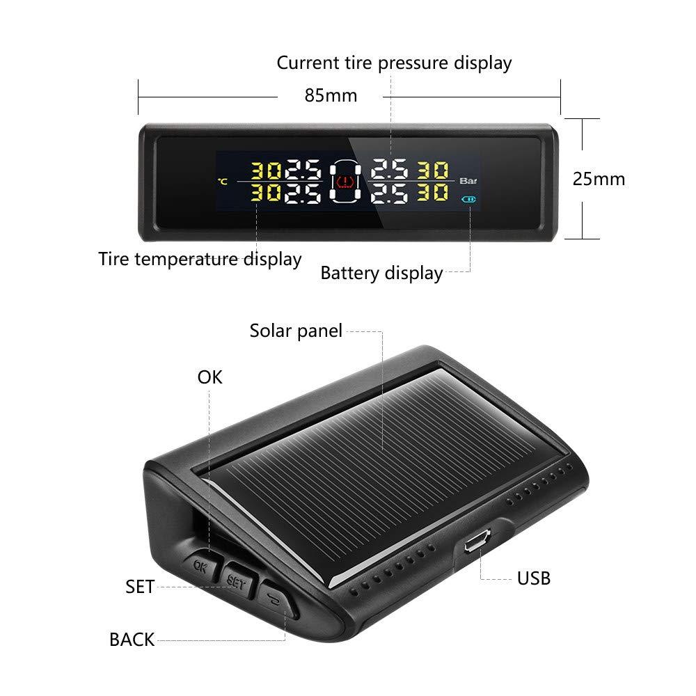 Jansite TPMS Sistema di monitoraggio della Pressione dei Pneumatici per Auto Solare Sistema di Allarme Audio per Monitor Pneumatici in Tempo Reale con 4 sensori Esterni