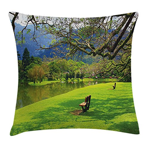 Bench French Hand Floral Painted (GOOESING Spring Green Park In Mountains Leisure Bench Comfortable Nice-Looking Pillow Case/Pillow Cover 50% Cotton & 50% Polyester Size 26x26 Inches)