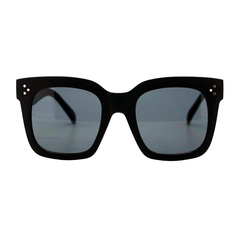 76365c0f02b0 Amazon.com: Womens Oversized Fashion Sunglasses Big Flat Square Frame UV  400 (black, black): Clothing