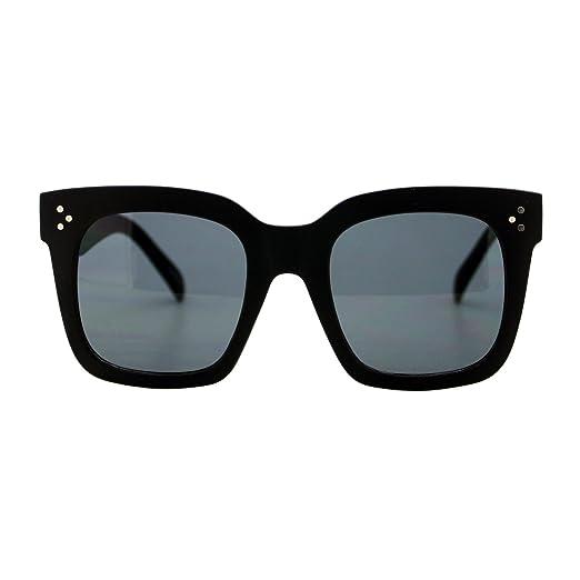 Womens Oversized Fashion Sunglasses Big Flat Square Frame UV 400 (black 15362f17c