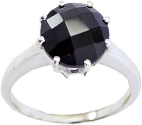 55Carat Natural Black Onyx Sterling Silver Ring Round Shape Chakra Healing US 4,5,6,7,8,9,10,11,12