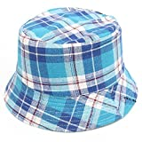 ❤️ Mealeaf ❤️ Toddler Baby Kids Boys Girls Plaid Pattern Bucket Hats Sun Helmet Cap(E,)